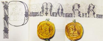Seal of Philip and Mary on the lease of park as drawn by John Weld (LRO DP 219) © reproduced by kind permission of Lancashire Archives