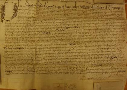 Deed of sale from Lord Dudley to Sir Richard Shireburne (LRO DDST Box 27, bundle 7) © reproduced by kind permission of Lancashire Archives