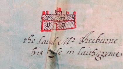 The lodge from 1608 Kenyon map (TNA DL 4/54/54) © reproduced by kind permission of the Chancellor and Council of the Duchy of Lancaster, photo courtesy of Dr Bill Shannon