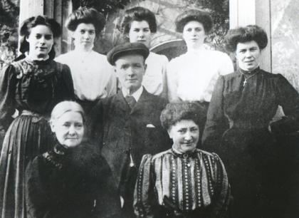 Leagram Hall staff © reproduced with thanks to Chipping Local History Group